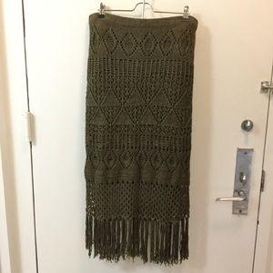 Polo Ralph Lauren Olive Green Knit Crochet Skirt